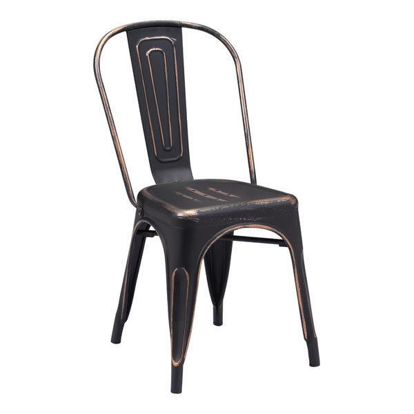 Elio Industrial Modern Dining Chair Black Gold 108143-EB