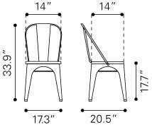 Elio Industrial Modern Dining Chair Black Gold