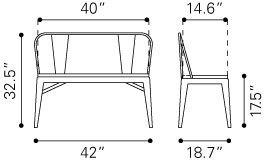 Elio Industrial Modern Double Bench