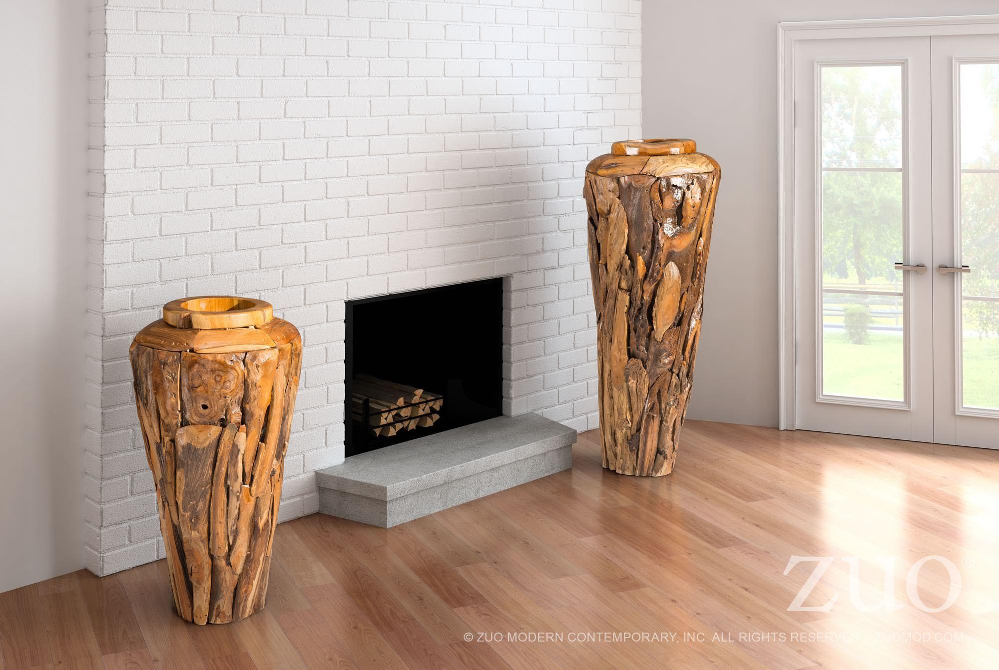 Geode Small Reclaimed teak wood Vase