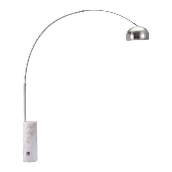 Trion Modern Retro Satin Chrome and Marble Floor Lamp 50037-EB