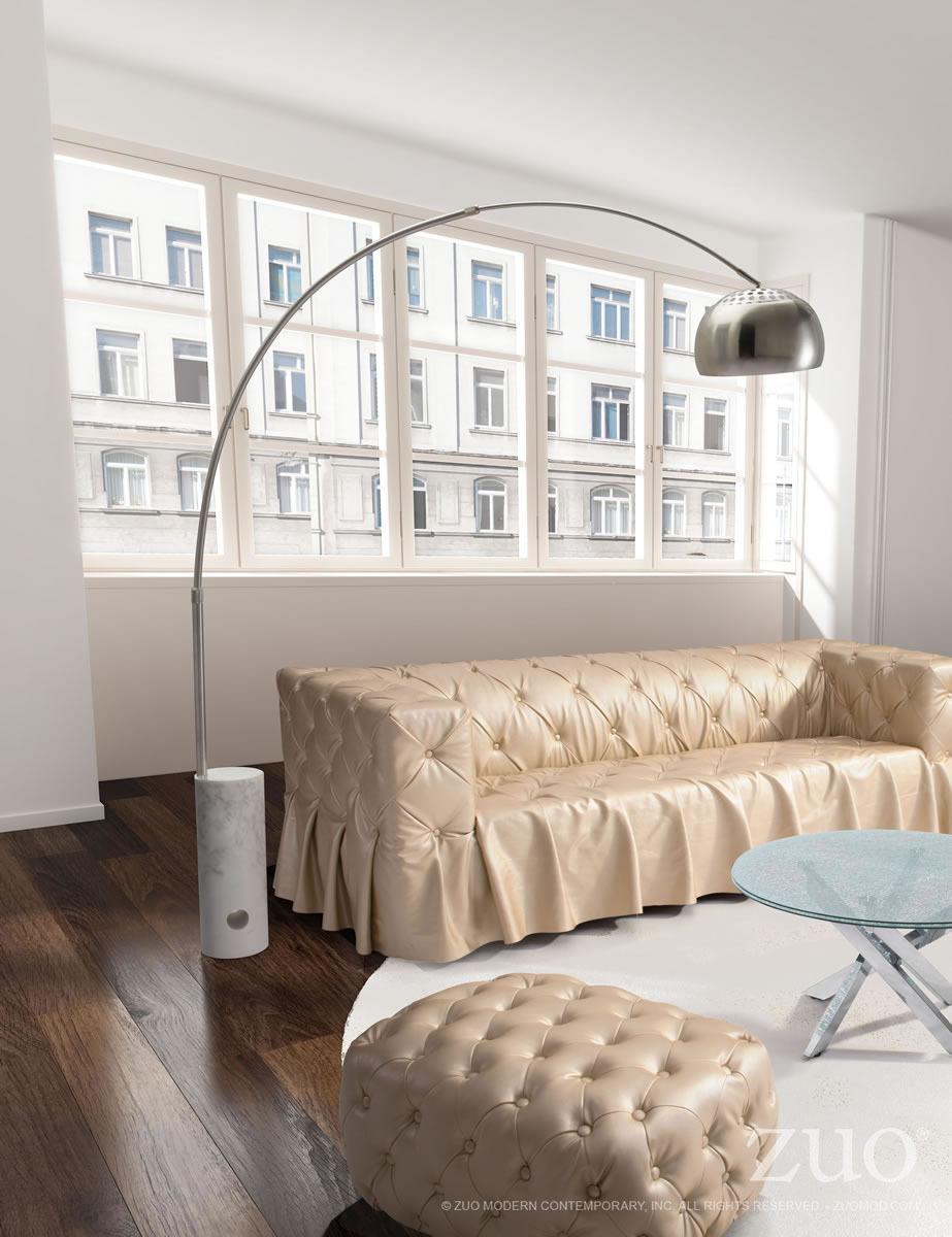 Trion Modern Retro Satin Chrome and Marble Floor Lamp