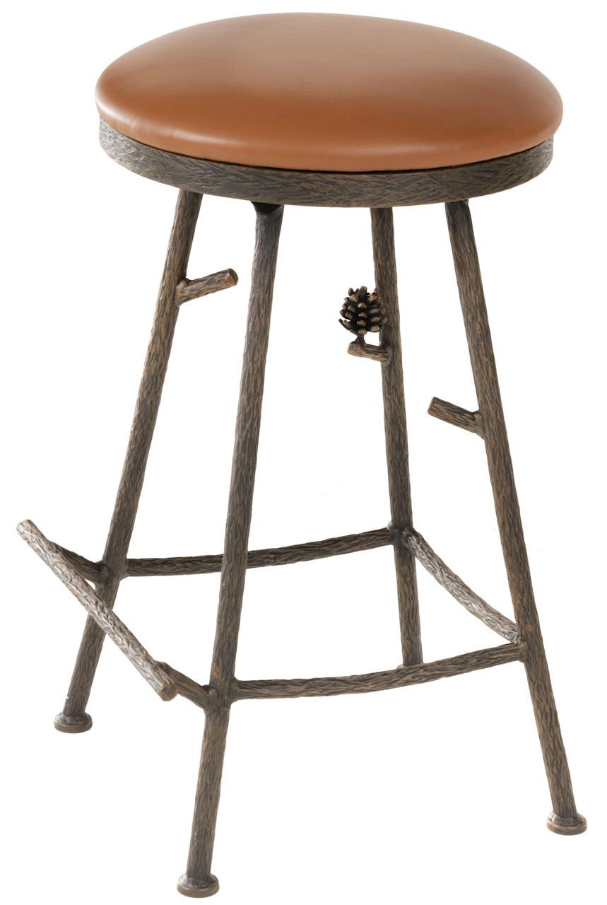 Pine Iron Backless Bar Stool 904-214