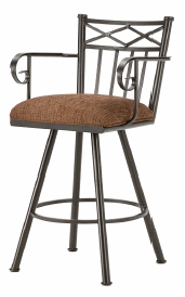 Alexander Bar Stool with Arms in Rust and Radar Nugget 1104630-EB