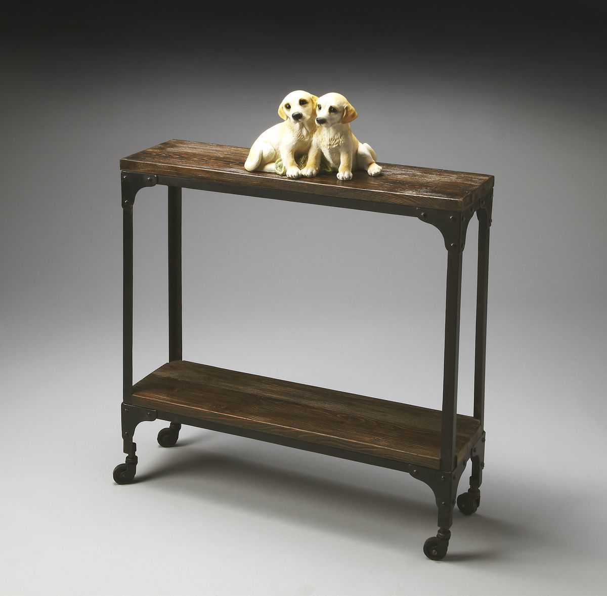Planked Industrial Console Table