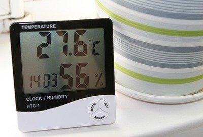 Прибор для измерения влажности воздуха, гидрометр, термометр и часы