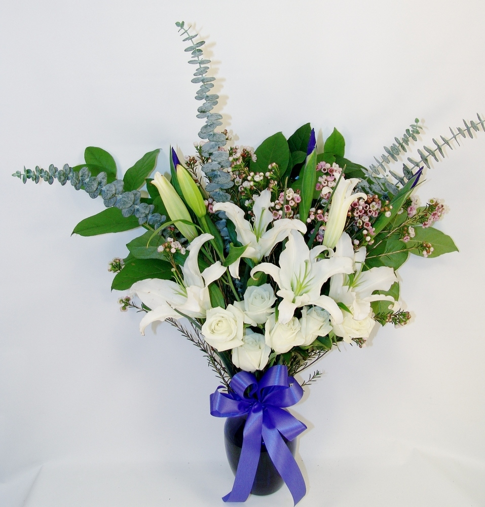 Roses, Irises & Lily Sympathy Display
