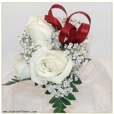 3 White Rose Corsage