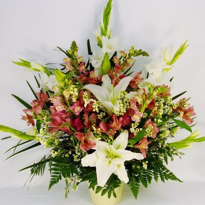 Pink Alstroemeria and Gladiolus Vase