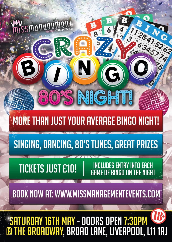 (CB003) 'Crazy Bingo' 80's Theme: Table For Three (Liverpool) Saturday 16th May 2020