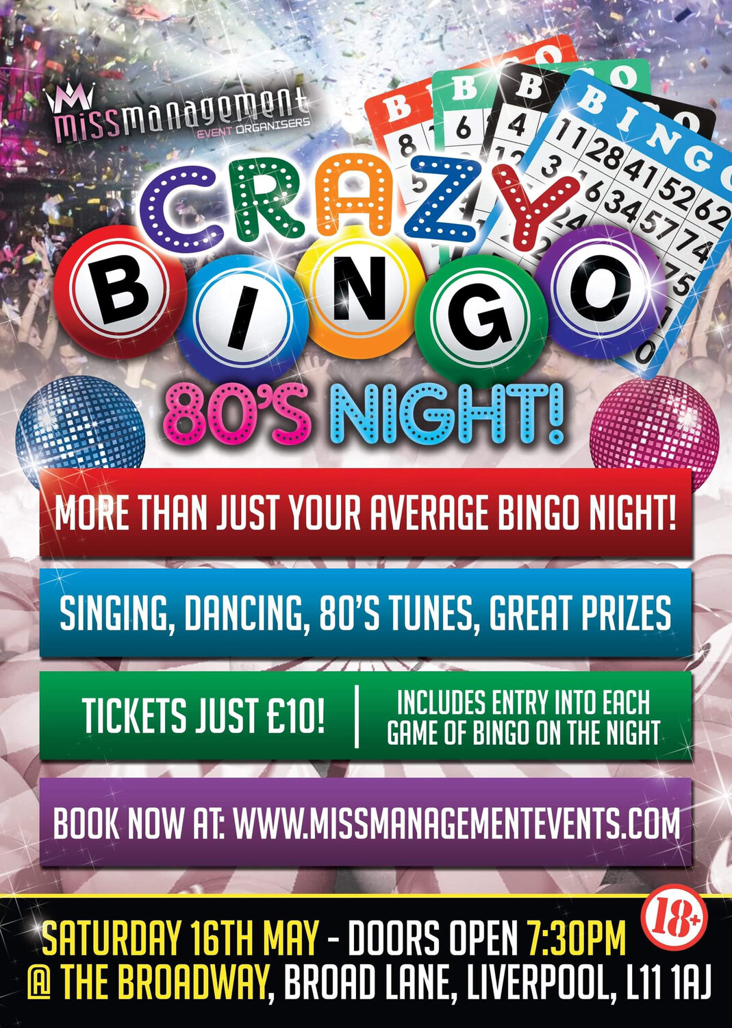 (CB010) 'Crazy Bingo' 80's Theme: Table For Ten (Liverpool) Saturday 16th May 2020