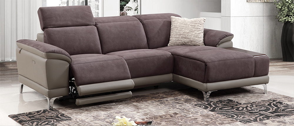 VIESTE, Electric Recliner L Shape Sofa with Chaise on right side