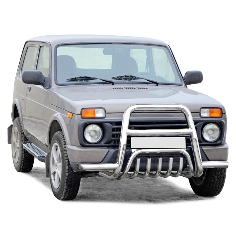 Дуга передняя «С усами» и  дополнительной защитой двигателя Диаметр=63,5  Urban 4x4 (нержавейка)