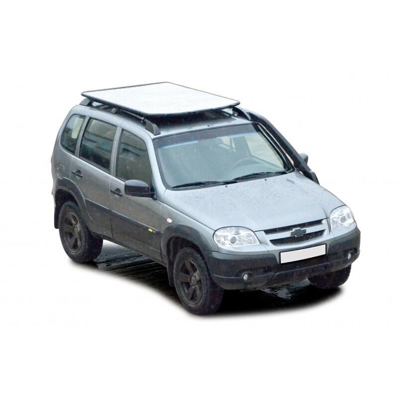 Багажник - платформа экспедиционный «Трофи» с алюминиевым листом, (монтаж на рейлинги) 2123 «Шеви»