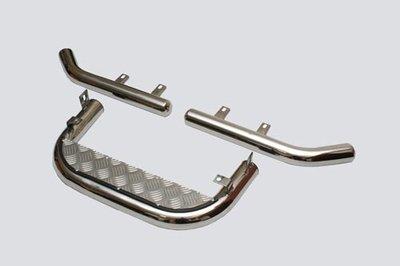 Подножка задняя с алюминиевым листом и защитой заднего бампера «Уголки» (Ø=63.5), 2123 «Шеви» (нержавеющая сталь)