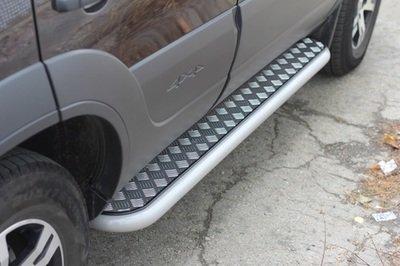 Защита порогов  с алюминиевой площадкой (Ø51 мм)