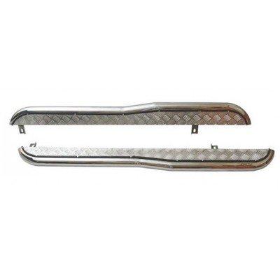 Пороги с алюминиевым листом с перегибом (d63.5), 2123«Шеви», нержавеющая сталь RS