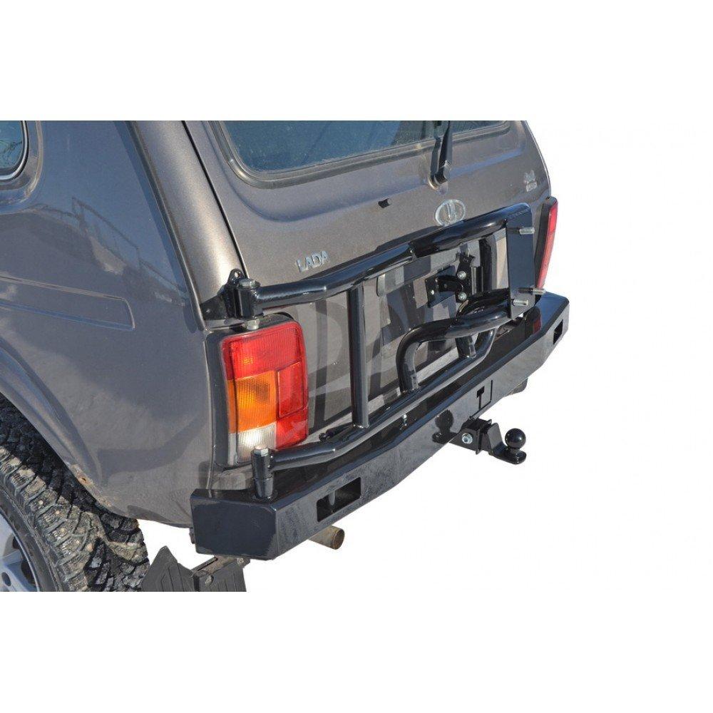 "Бампер задний силовой с Кронштейном запасного колеса и ТСУ (фаркопом)  ""Lada 4x4"""