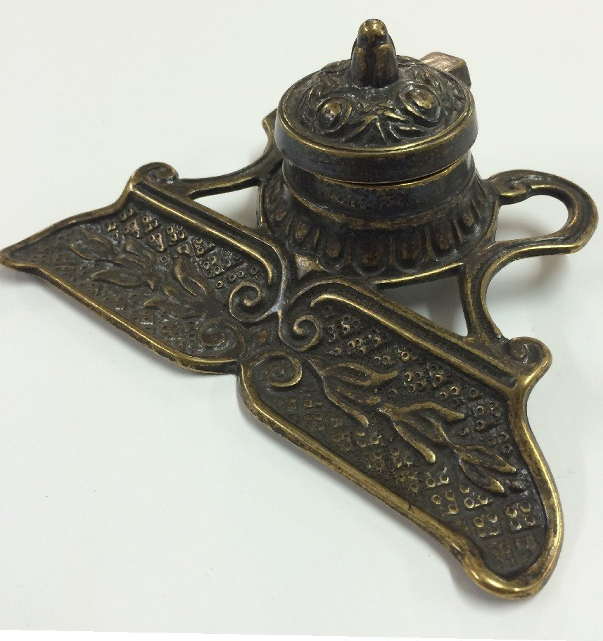 Italian Made Antique Brass Inkwell, $129