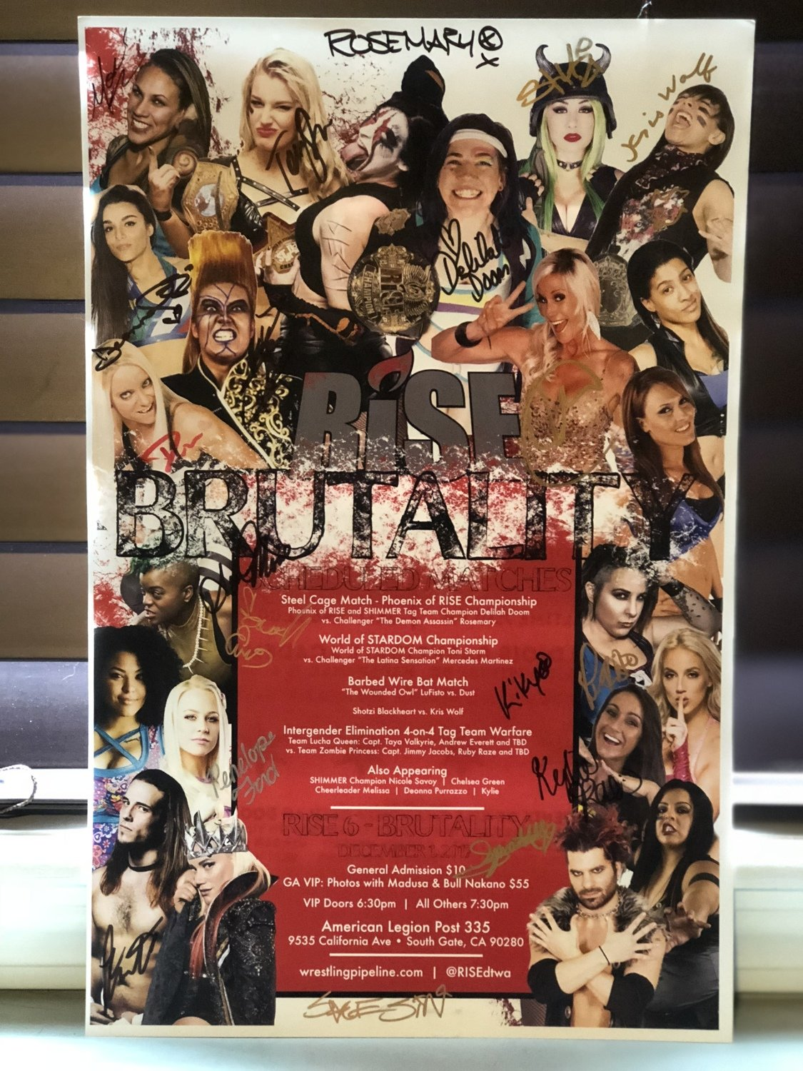 RISE 6 - BRUTALITY Poster Signed (Includes Madusa and Bull Nakano)