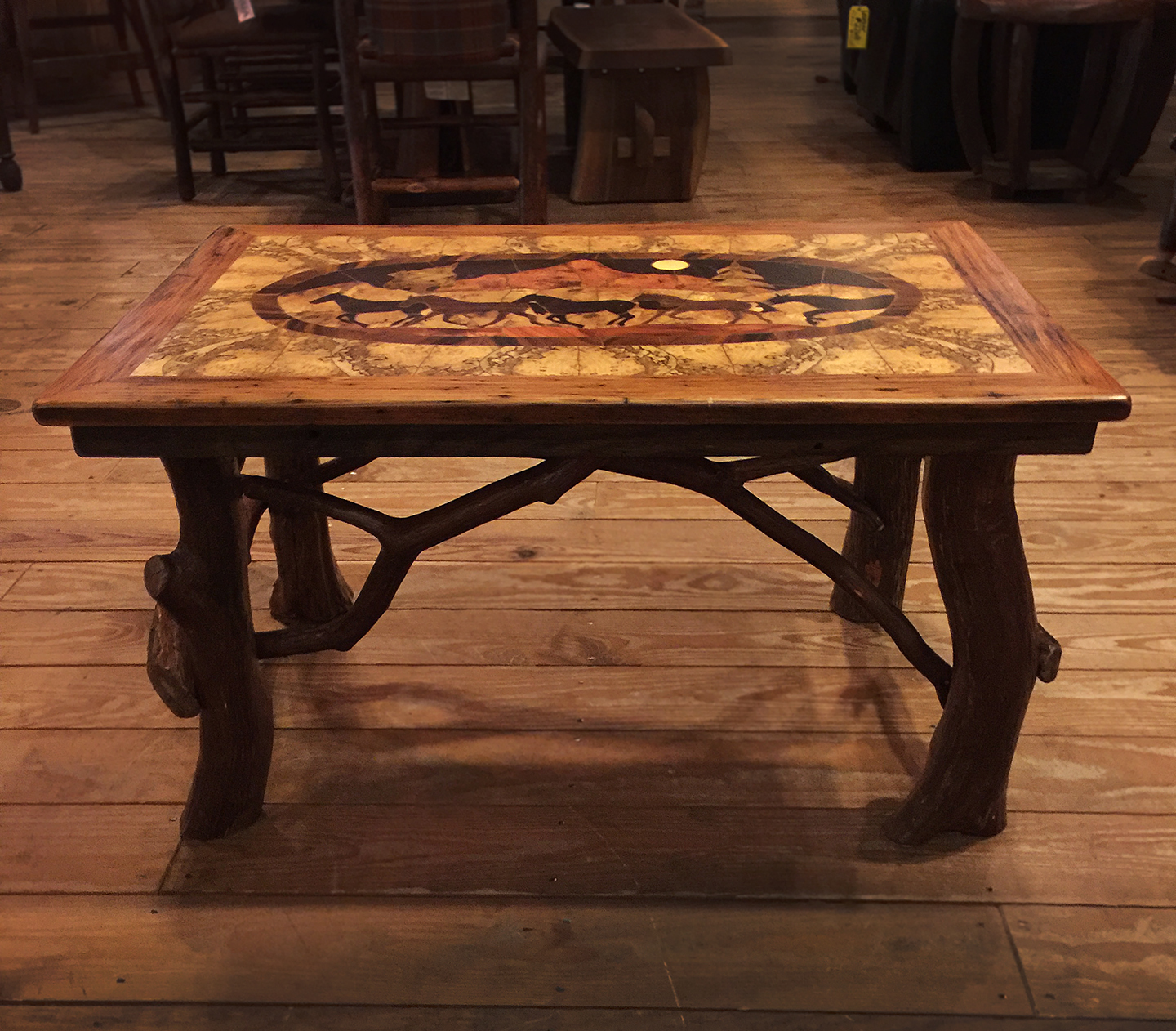 Inlaid Running Horse Coffee Tables