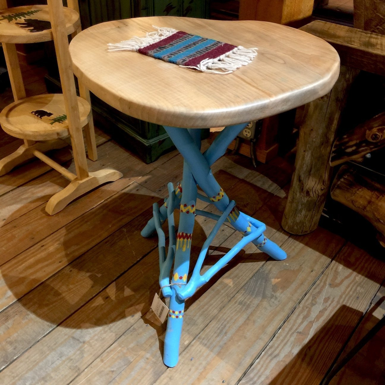 Tripod Table w/maple top base blue ,Indian design