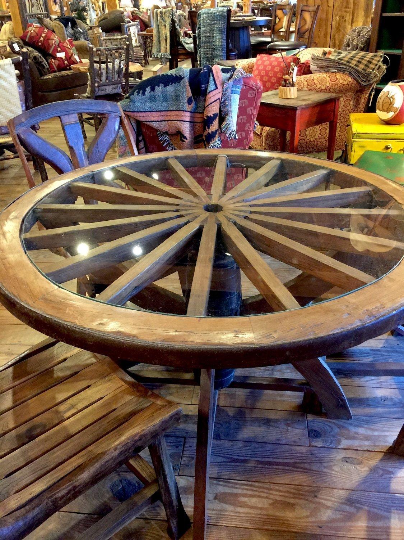 Wagon Wheel Glass Table