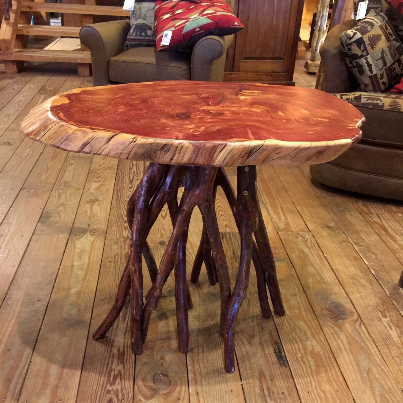 Cedar Entry Table with Crepe Myrtle Base