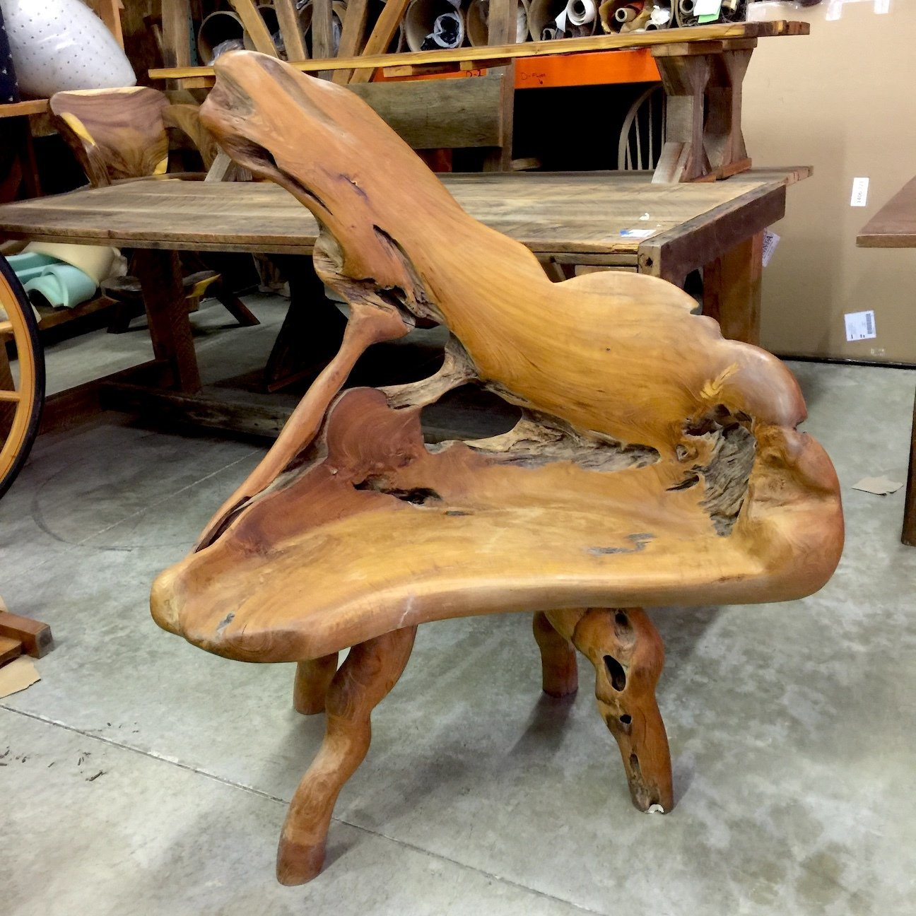 Small Teak Root Chair #1