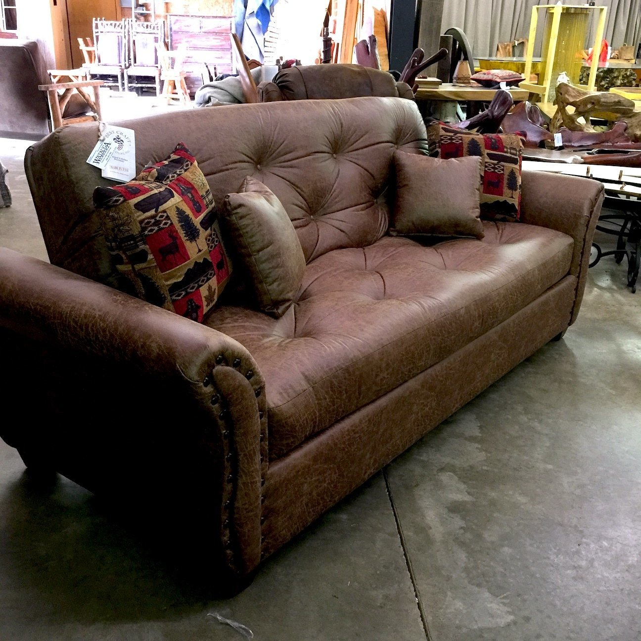 Upholstered Arm Lounger w/Large Antique Brown Nail Heads