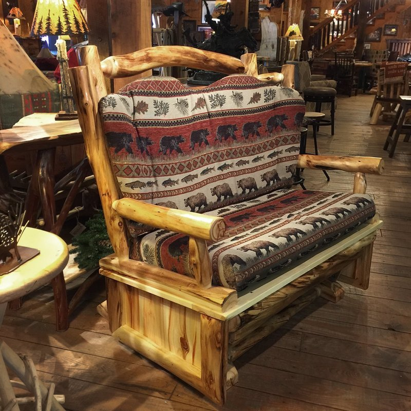Natural Log Love Seat Glider