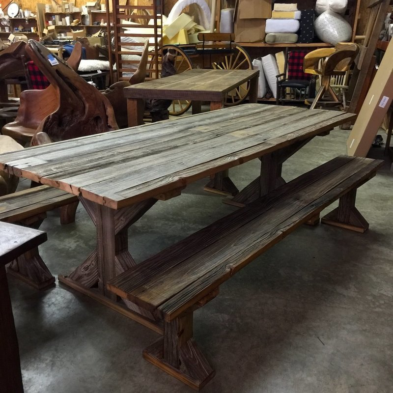 Silo Weathered Gray Table and 2 Benches (built in 70's)