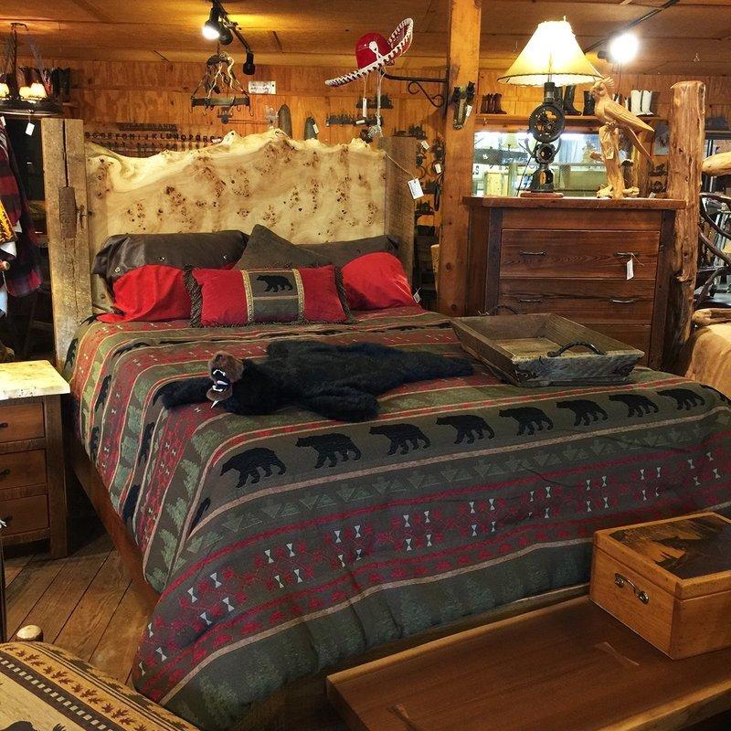 Live Edge Maple Burl Slab W/Antique Barn Wood Queen Bed