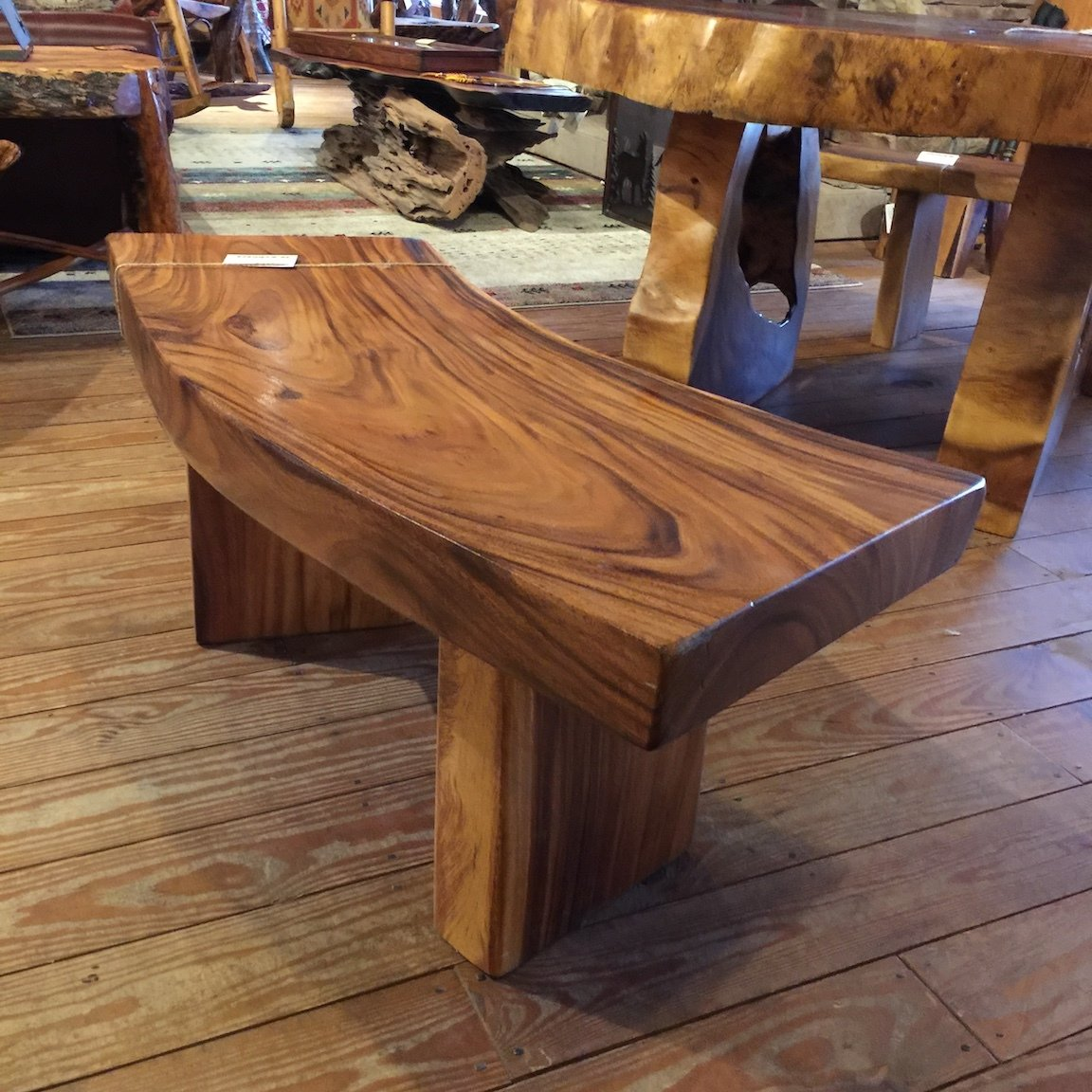 Monkey Pod Curved Bench 4'