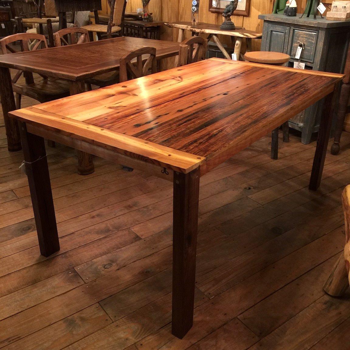 66L 36W Heart Pine Top Dining Table Walnut Legs