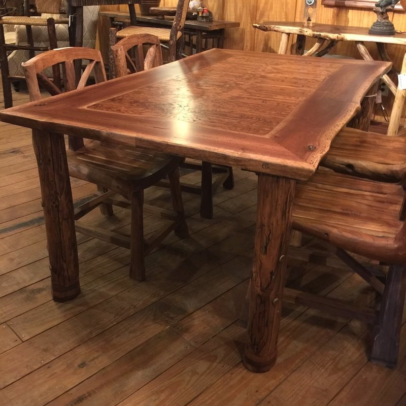 Dining Table, Curly Chestnut and Walnut