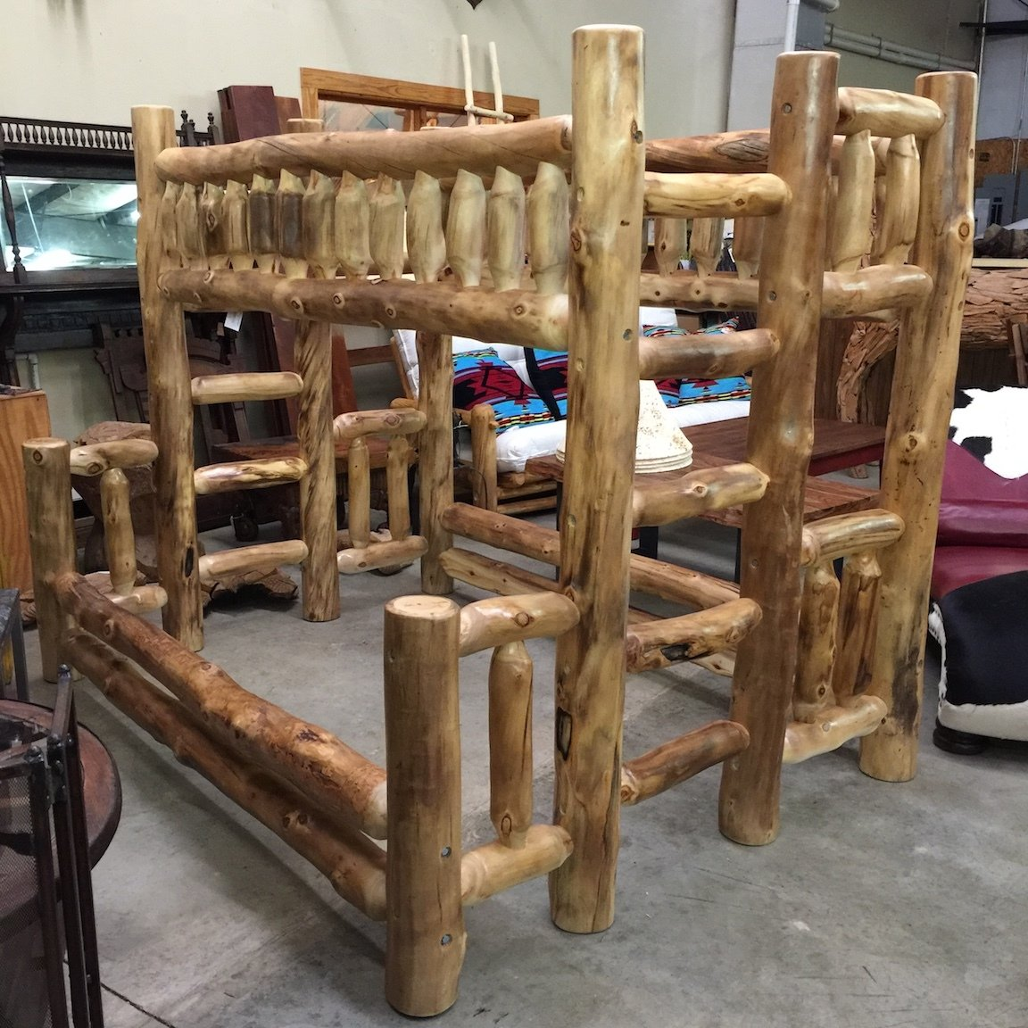 Aspen Bunk Bed Natural Log Twin over Full