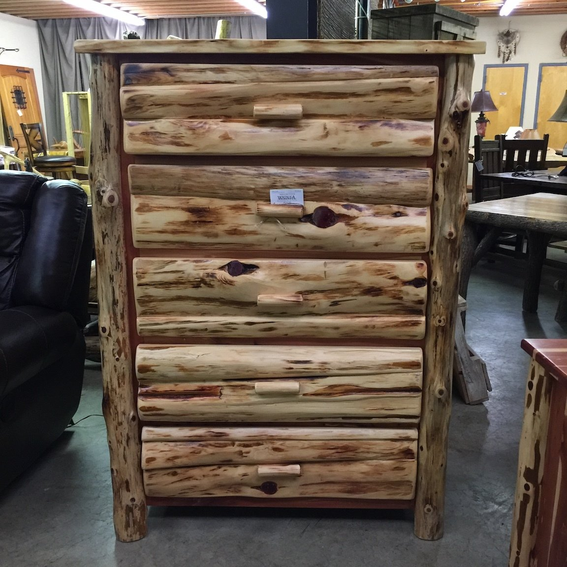 Red Cedar 5 Drawer Chest with half log drawer drawer fronts and log corners