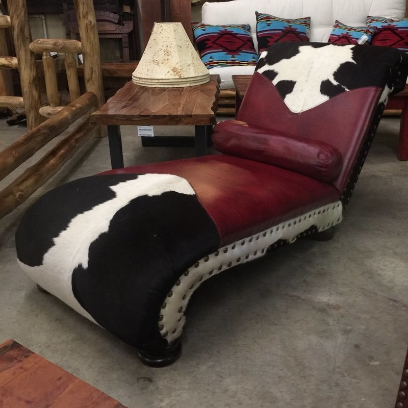 Leather and Cowhide Chaise