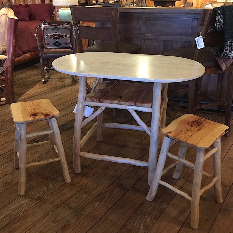 Game/Breakfast Table w/peeled fruitwood base, shelf and bar stools of yellow pine