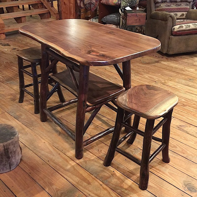 Walnut Table with 2 Stools