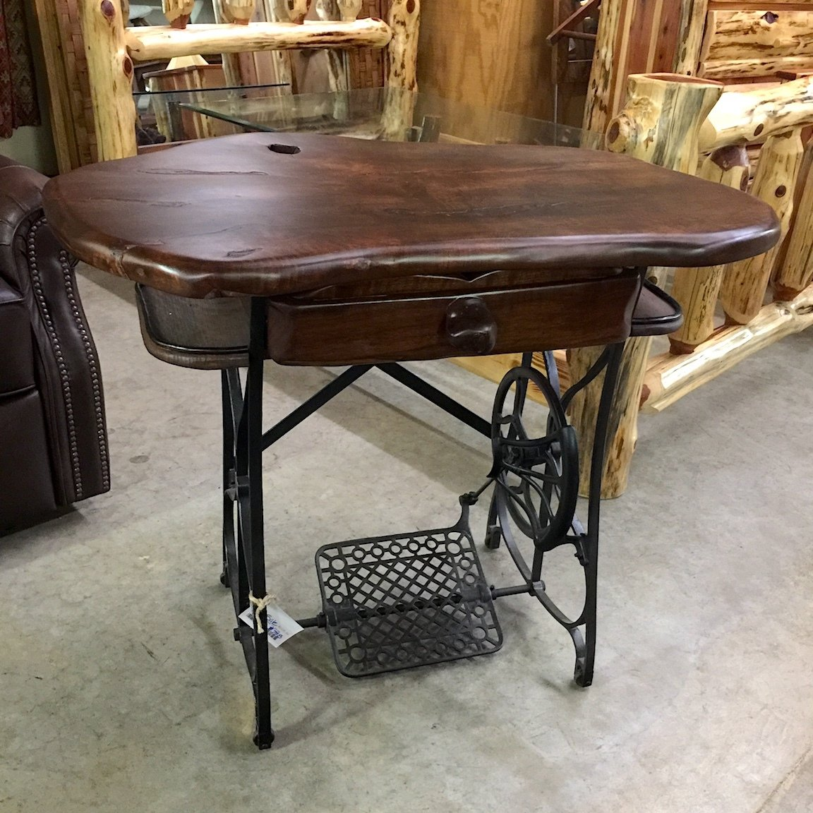 Maple Top Stained Desk with Antique Sewing Machine Base