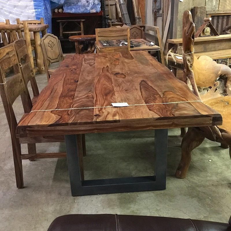Emerson Dining Table w/ Live Edge and Metal Base
