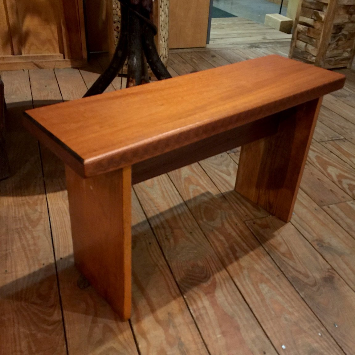 Small Bench with Mahogany Top/Stained Walnut