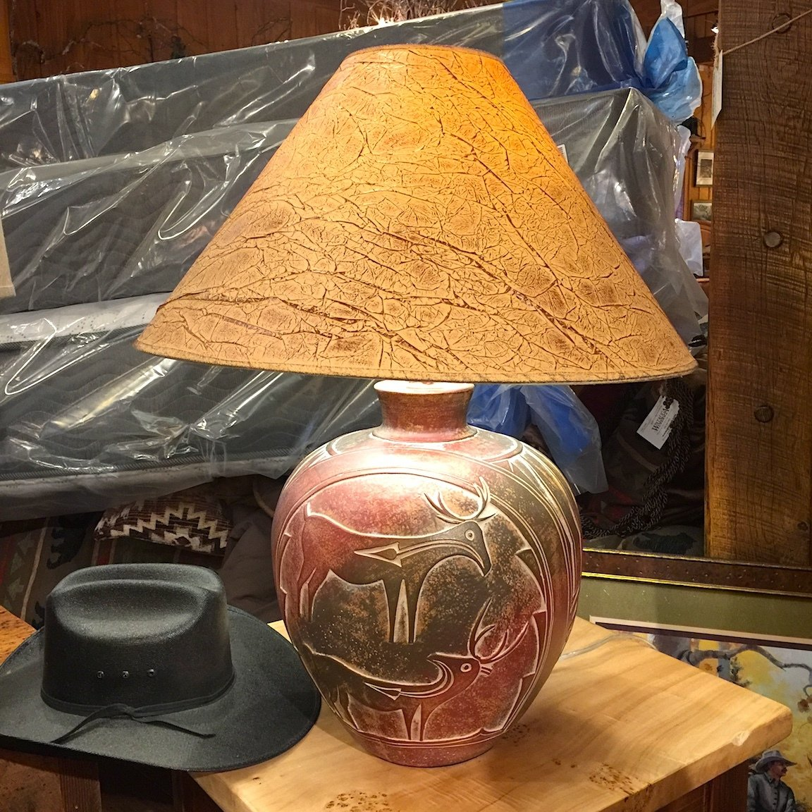 "26""H Table Lamp Indian Deer"
