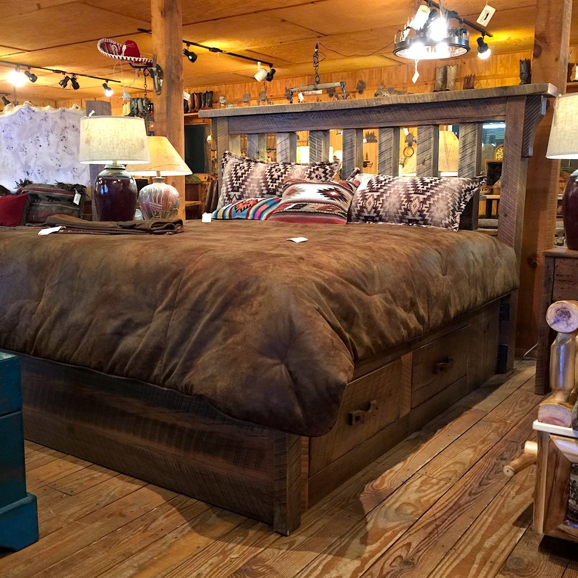 King Barnwood Platform Bed