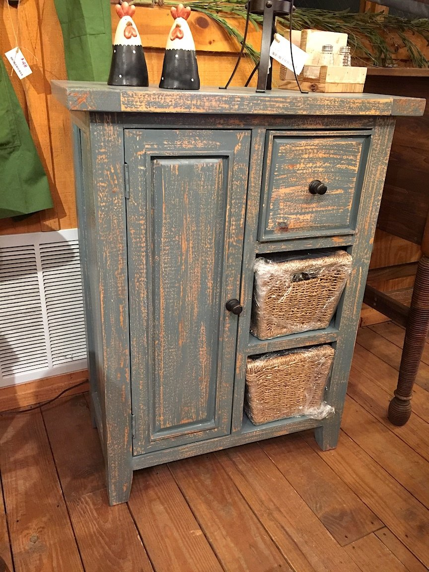 Tuscan Retreat Coffee Cabinet with 2 Shelf/Baskets