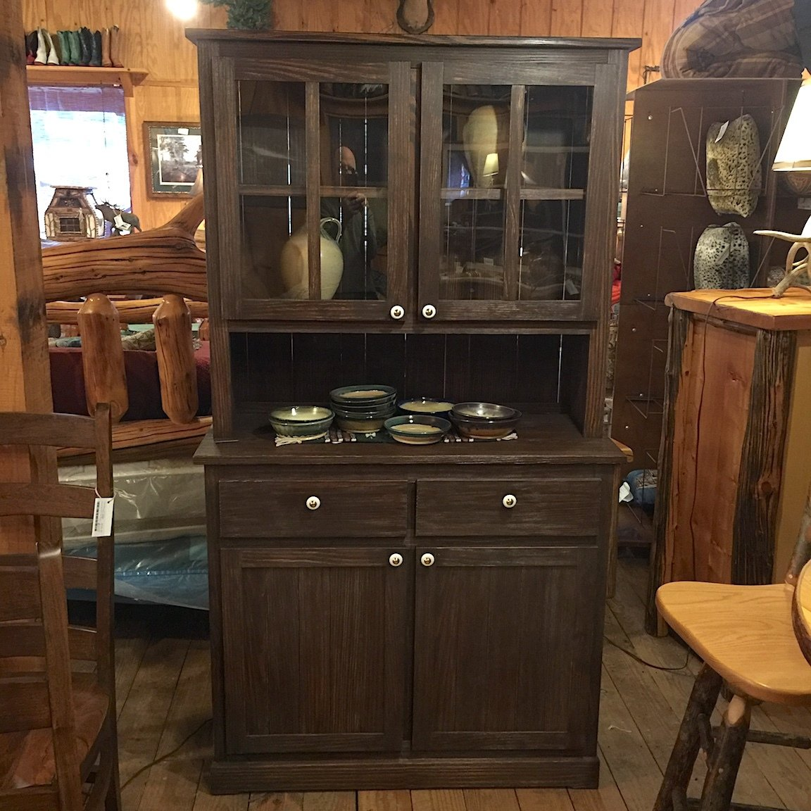 Yellow Pine Hutch and Buffet, stained Dark Walnut