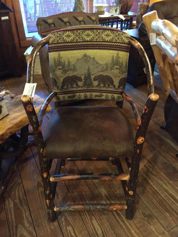 Hickory Upholstered Pub Stool