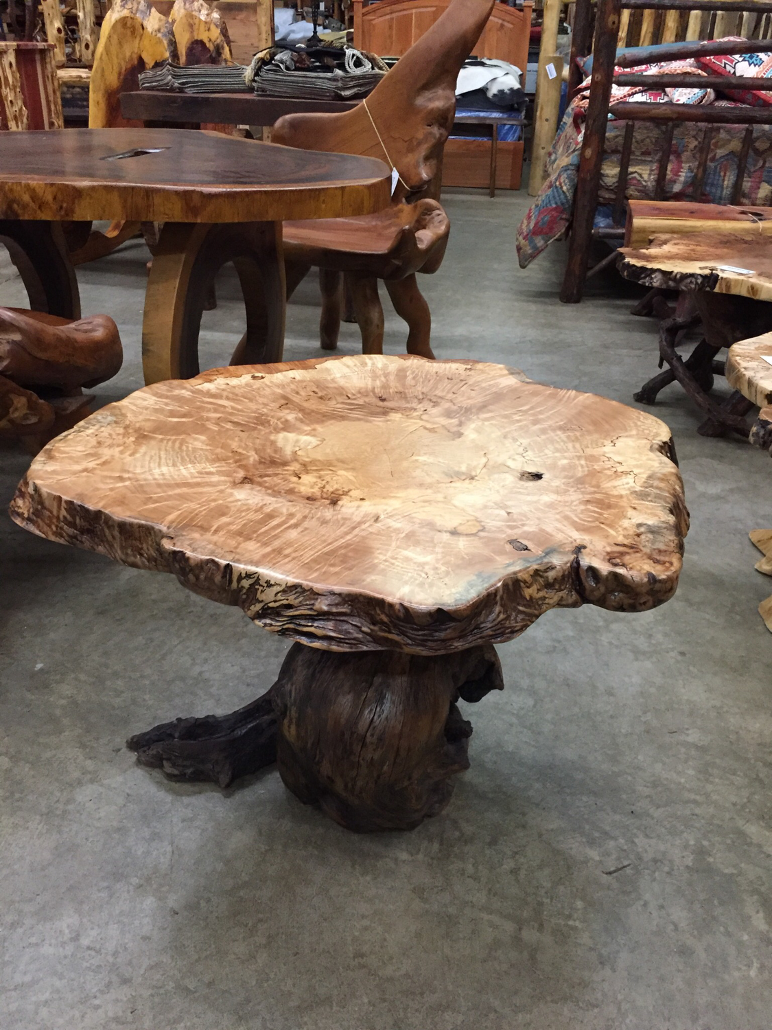 Maple Burl w/Live Oak Base Table